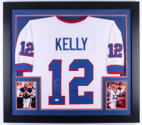 Jim Kelly Signed Bills 31x35 Custom Framed Jersey (JSA COA) at PristineAuction.com