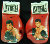 Muhammad Ali / Cassius Clay Signed Pair of Wayne Prokopiak Painted Everlast Boxing Gloves with Hand-Painted Portraits (PSA LOA)