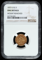 1873-S $2.50 Liberty Head Quarter Eagle Gold Coin (NGC Genuine, Fine Details)