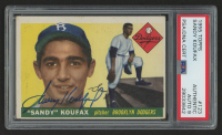 Sandy Koufax Signed 1955 Topps #123 RC (PSA Encapsulated & Auto Grade 9)