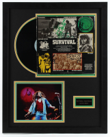 """Bob Marley and the Wailers """"Survival"""" LP 22.5x28 Custom Framed Vinyl Record Album Display Band-Signed by (4) with Bob Marley, Aston Barrett with Inscriptions (REAL LOA)"""
