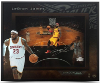 "LeBron James Signed Cleveland Cavaliers ""Lift Off"" 16x20x2 Custom Framed Shadowbox Display (UDA COA) at PristineAuction.com"