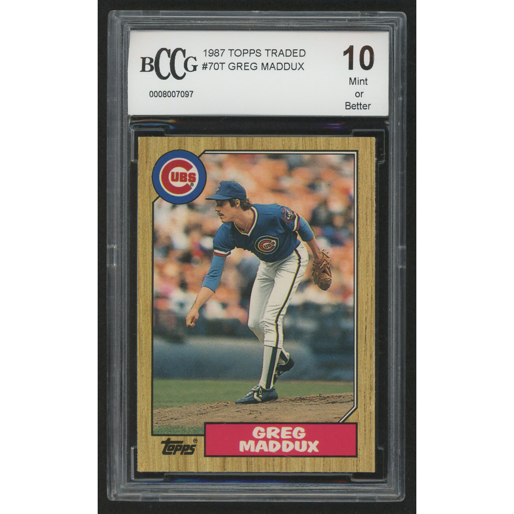 1987 Topps Traded #70T Greg Maddux Rookie Graded BCCG 10