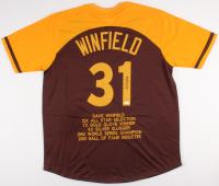 Dave Winfield Signed Padres Career Highlight Stat Jersey (JSA COA)