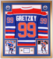Wayne Gretzky Signed Oilers 34x38 Custom Framed Cut Display with (2) Championship Rings (JSA COA)