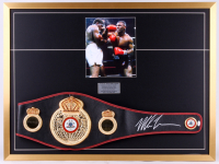 Mike Tyson Signed 30x40 Custom Framed Display With WBA Full-Size Heavyweight Champion Belt (JSA COA)