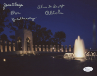 WWII Memorial Night 8x10 Photo Singed by (4) With James Baize, Abner Aust, Don Jakaway & Richard E. Cole (JSA Hologram)
