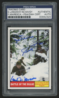 Don Jakeway, Birney Havey, & Frank Maresca Signed 2009 Topps American Heritage Heroes #120 Battle of the Bulge (PSA Encapsulated)