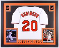 "Frank Robinson Signed Baltimore Orioles 35.5x43.5 Custom Framed Jersey Display Inscribed ""HOF 82"" (JSA COA)"
