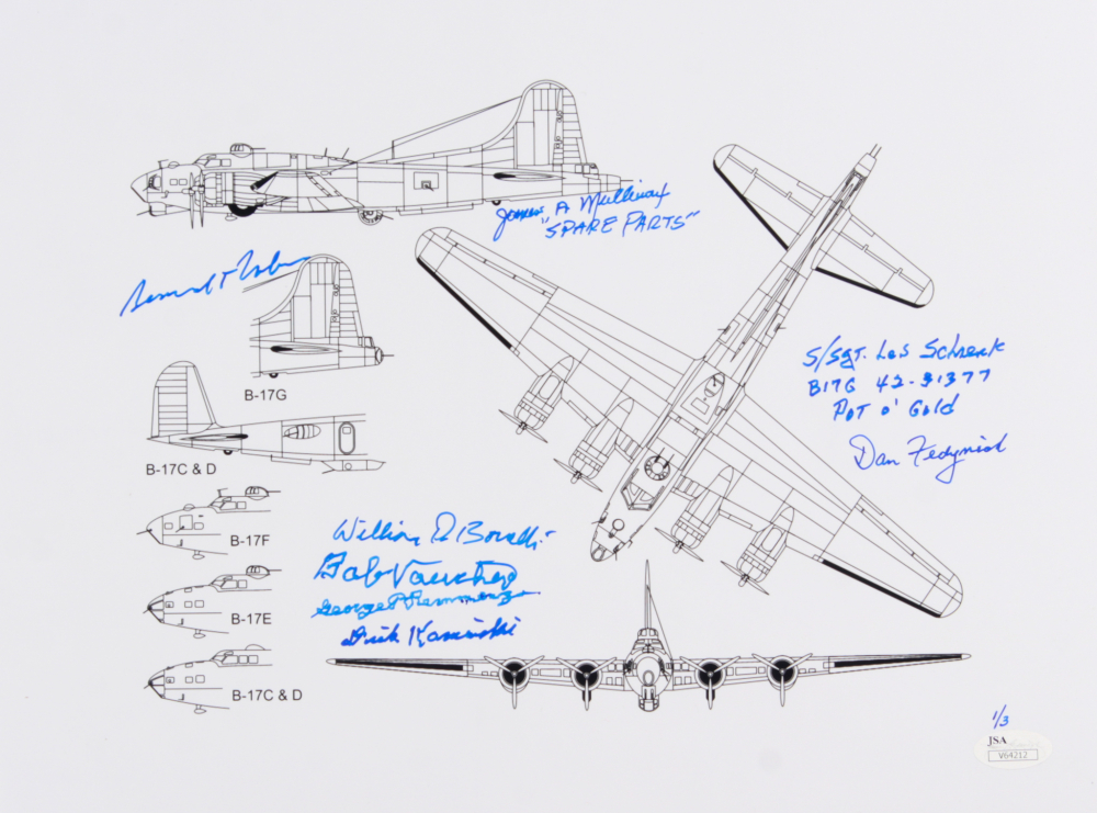 le wwii b-17 plane schematics 11x14 poster signed by (8) with bernardo