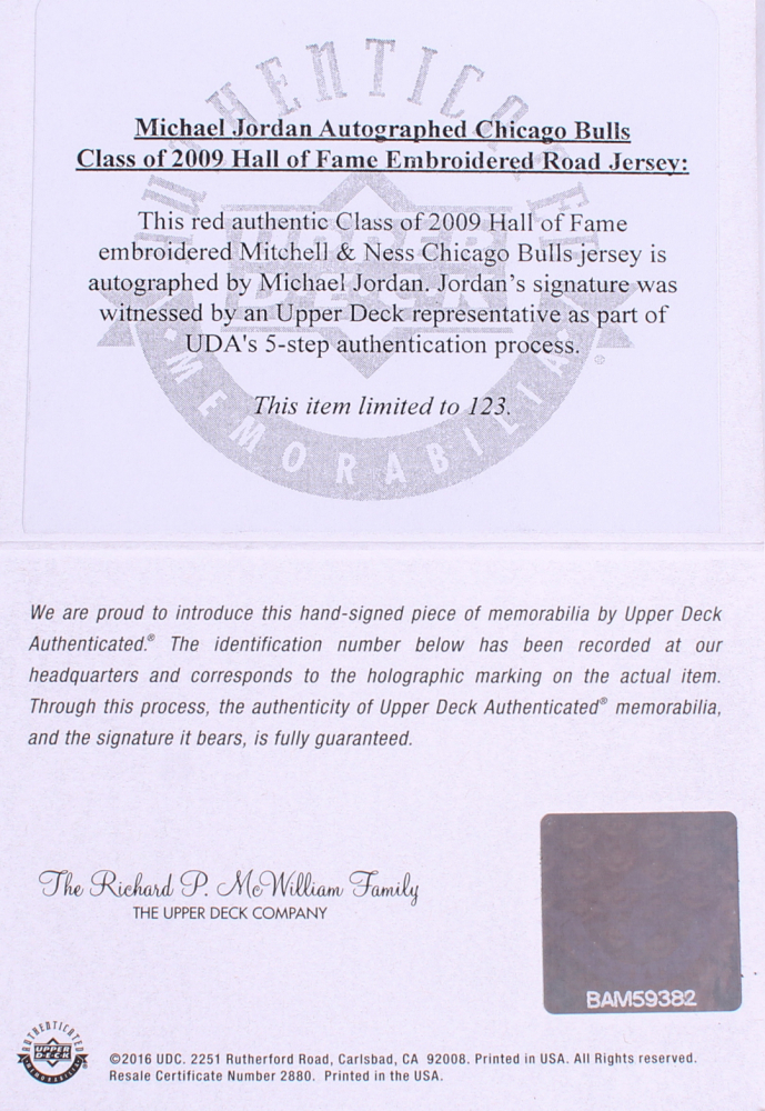 b8e0deb60 Michael Jordan Signed Bulls 35x43 Custom Framed Limited Edition Mitchell    Ness Hall of Fame Jersey