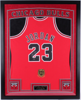 Michael Jordan Signed Bulls 35x43 Custom Framed Limited Edition Mitchell & Ness Hall of Fame Jersey Display (UDA COA)