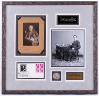 Thomas Edison Signed 23x23.75 Custom Framed Photo Display with Coin, Trademark Plaque & Postcard (JSA LOA)