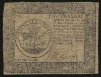 1778 $5 Five Dollars Continental Colonial Currency Note