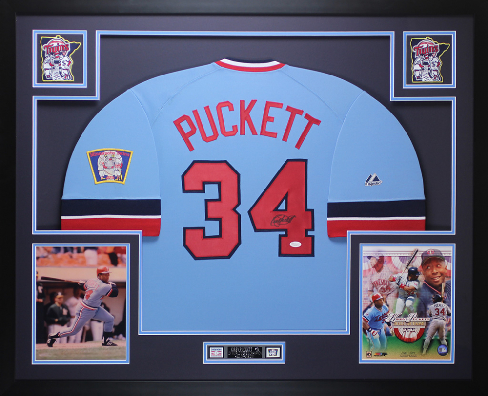 8561f523241 Kirby Puckett Signed Twins 35x43 Custom Framed Jersey Display (JSA LOA)