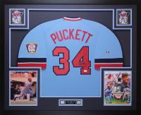 Kirby Puckett Signed Twins 35x43 Custom Framed Jersey Display (JSA LOA)