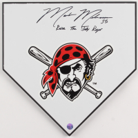 """Mark Melancon Signed Pirates Home Plate Inscribed """"Raise The Jolly Roger"""" (TSE COA) at PristineAuction.com"""