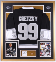 Wayne Gretzky Signed Kings 34x38 Custom Framed Cut Display (JSA COA)