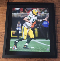 """Aaron Rodgers Signed Green Bay Packers 24x28 Custom Framed LE Photo Inscribed """"Fastest to 300 TD's"""" (Steiner COA) at PristineAuction.com"""