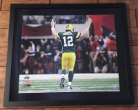 Aaron Rodgers Signed Green Bay Packers 24x28 Custom Framed LE Photo (Steiner COA) at PristineAuction.com