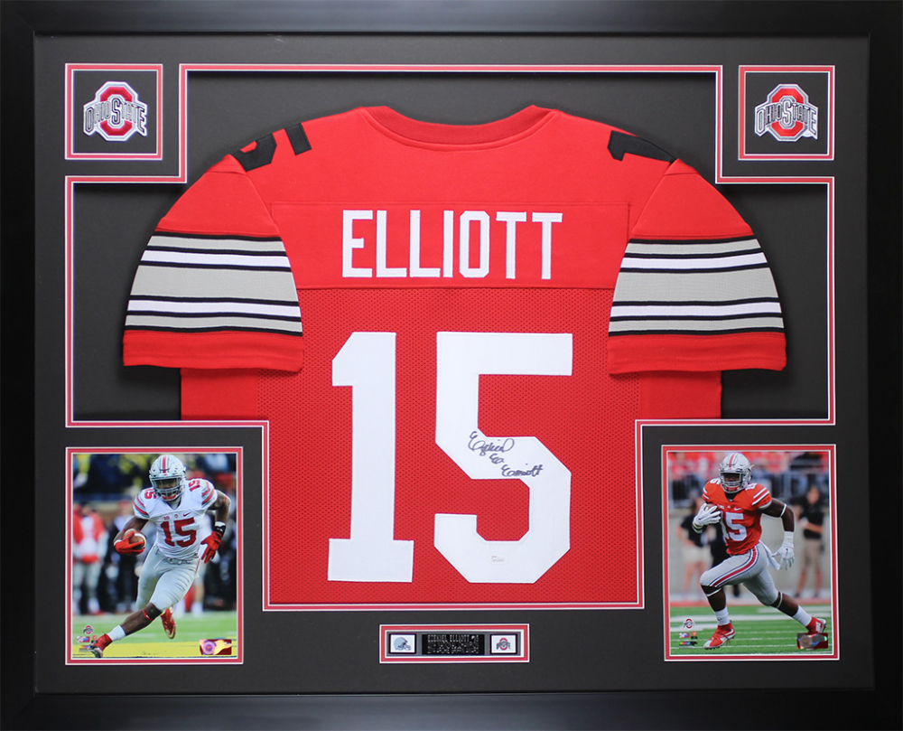 6f45c28e804 Ezekiel Elliott Signed Ohio State Buckeyes 35x43 Custom Framed Jersey (JSA  COA) at PristineAuction