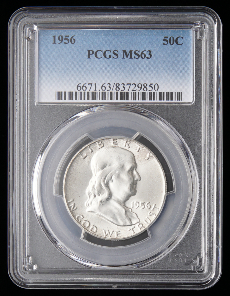 1956 Franklin Silver Half Dollar PCGS MS 63 At PristineAuction