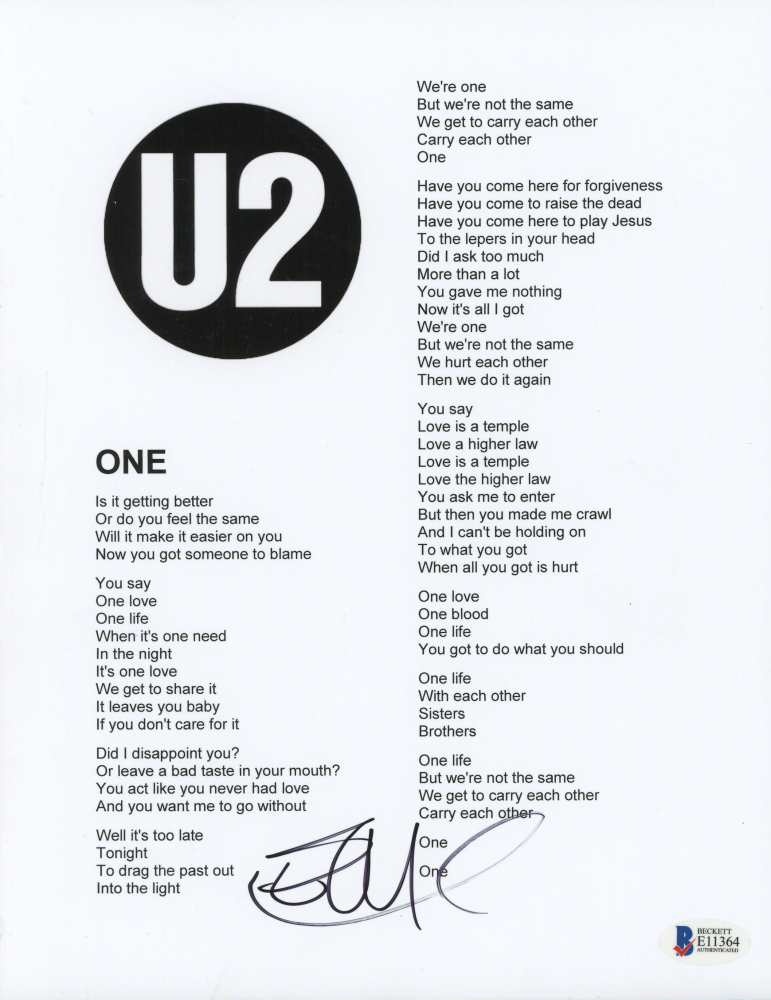 U2 one lyrics