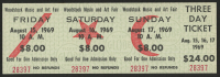 Woodstock Authentic Three Day Unused Ticket from August 15, 16, 17, 1969