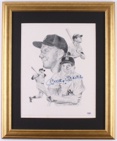 Mickey Mantle Signed Yankees 19x23 Custom Framed Lithograph (PSA LOA)