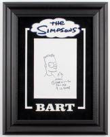 "Matt Groening Signed ""The Simpsons"" Custom Framed 16x20 Hand-Drawn Sketch of Bart Simpson on Canvas Inscribed ""San Jose"" & ""9-12-2008"" (JSA ALOA)"