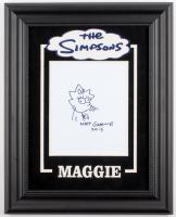 "Matt Groening Signed ""The Simpsons"" Custom Framed 16x20 Hand-Drawn Sketch of Maggie Simpson on Canvas Inscribed ""2013"" (JSA ALOA)"