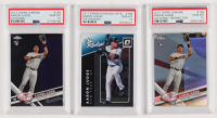 Lot of (3) PSA Graded 10 2017 Aaron Judge Baseball Cards with (1) Donruss Optic The Rookies #TR8, (1) Chrome #169A RC & (1) Chrome Refractors #169 RC