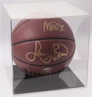 Larry Bird & Magic Johnson Signed NBA Basketball with Display Case (PSA COA)