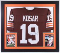 Bernie Kosar Signed Browns 31x35 Custom Framed Jersey (JSA COA)