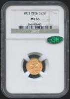 1873 $1 Indian Princess Gold Coin - Open 3 (NGC MS 63) (CAC)