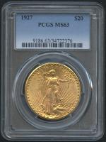 1927 $20 Saint-Gaudens Double Eagle Gold Coin (PCGS MS 63)