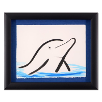 "Wyland Signed ""Dolphin"" 16.5x20 Custom Framed Original Sumi Ink & Watercolor Painting at PristineAuction.com"