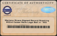 "Mariano Rivera Signed ""602 Saves Commemorative"" Logo Baseball Inscribed ""602 Saves 9-19-11"" (Steiner COA) at PristineAuction.com"