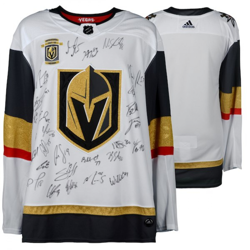 f0c1e57e5 Vegas Golden Knights 2018 Western Conference Champions Authentic Adidas  Jersey with (22) Signatures Including