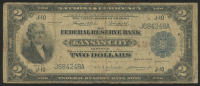 1918 $2 Two Dollars FRBN U.S. National Currency Large Bank Note - The Federal Reserve Bank of Kansas City, Missouri