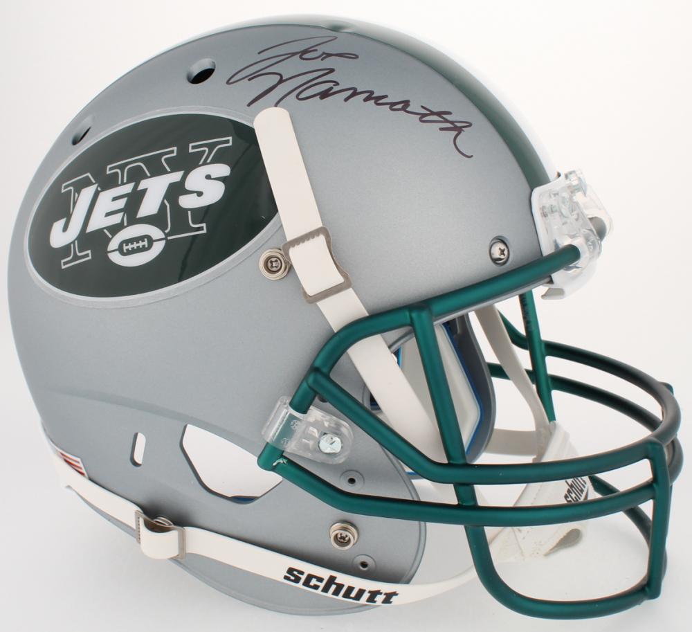 Joe Namath Signed Jets Custom Satin Silver Full-Size Helmet (JSA COA    Namath 3025ed8ab