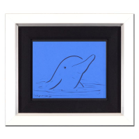 "Wyland Signed ""Dolphin"" 19x16 Custom Framed Original Sketch"