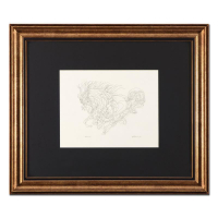 """Guillaume Azoulay Signed """"Sketch AZI"""" 28x24 Custom Framed Original Drawing"""