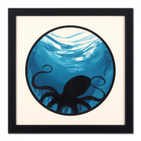 "Wyland Signed ""Octopus"" 28x28 Custom Framed Original Watercolor Painting at PristineAuction.com"