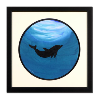 "Wyland Signed ""Dolphin"" 28x28 Custom Framed Original Watercolor Painting at PristineAuction.com"