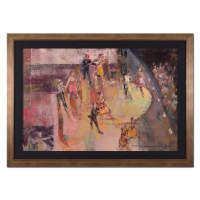 """Alex Zwarenstein Signed """"The Russian Troupe"""" 42x30 Custom Framed Original Oil Painting on Canvas"""