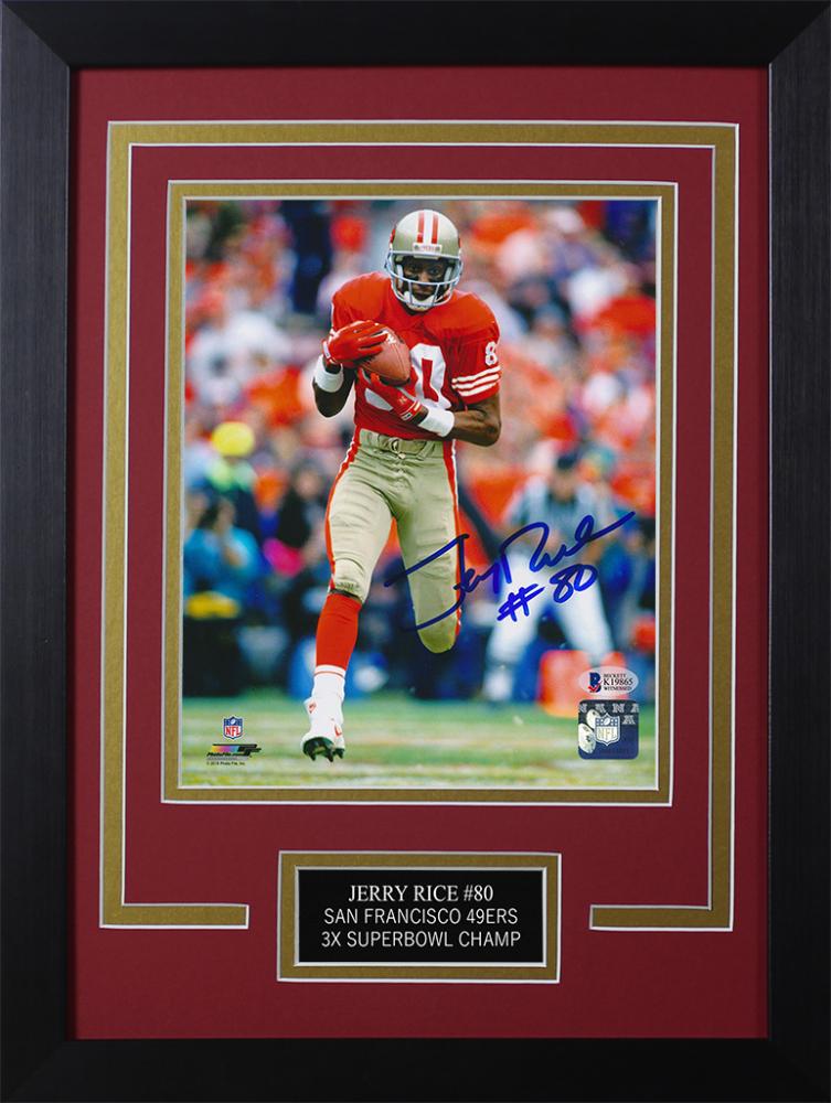 f63e22005 Jerry Rice Signed 49ers Steelers 14x18.5 Custom Framed Photo Display  (Beckett COA)
