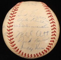 "1946 New York Giants ONL Baseball Team-Signed by (15) with Mel Ott, Ernie Lombardi, Johnny Mize, Albert Benjamin ""Happy"" Chandler with Inscription (JSA LOA)"