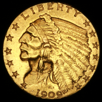 1909 $2.50 Indian Quarter Eagle Gold Coin at PristineAuction.com