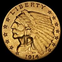 1914 $2.50 Indian Quarter Eagle Gold Coin